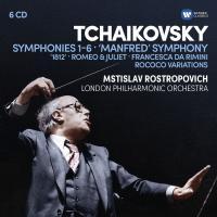 """Symphonies 1-6 """"Manfred"""" Symphony Ouverture solennelle 1812 Piotr Ilitch Tchaïkovski, comp. London Philharmonic Orchestra Mstislav Rostropovich, direction.... [et al.]"""