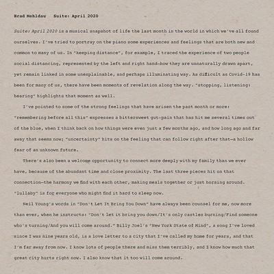 Suite : april 2020 Brad Mehldau